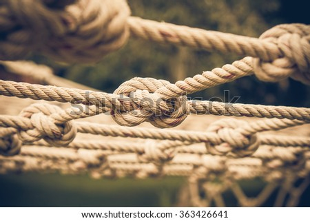 Many Coil of rope with nature background.Vintage or retro tone.