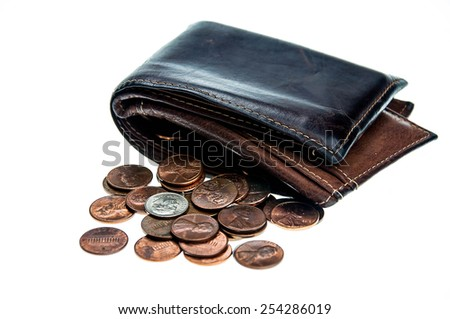 many coins with the leather wallet  - stock photo