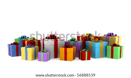 many color gift boxes isolated on white background with clipping path - stock photo