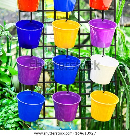 many color of plastic flowerpot - stock photo