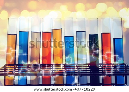many color of science laboratory test tubes - stock photo
