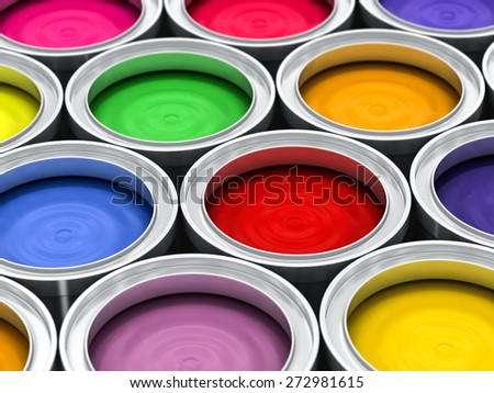 many color paint rainbow cans for renovation