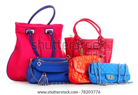 Many color women bags  on white - stock photo