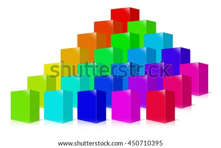 Many colored box 3D rendering.  Isolated on white. - stock photo