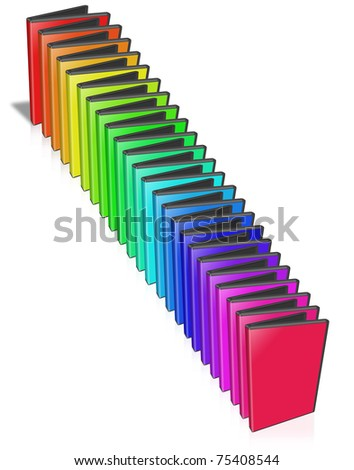 Many colored DVD Case.  Isolated on white. - stock photo