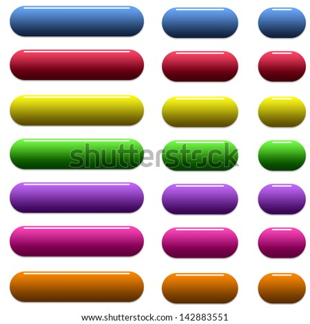 Many colored glossy rounded web buttons