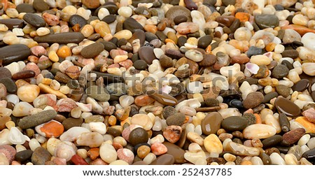 Many-colored little stones on the beach - stock photo