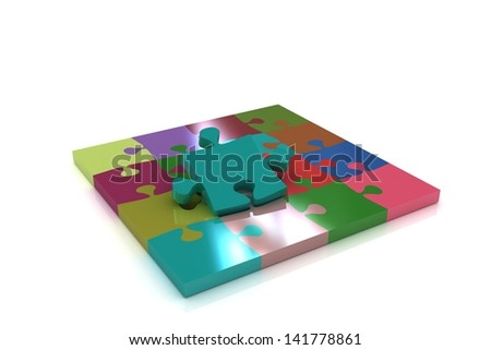 Many-colored puzzle pattern (removable pieces). - stock photo
