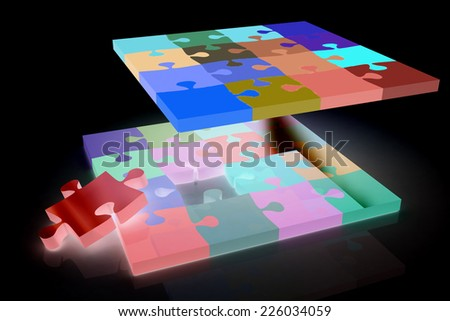 Many-colored puzzle pattern (removable pieces).