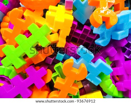Many colored puzzles - stock photo