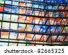 Many colored windows inside a modern building - stock photo