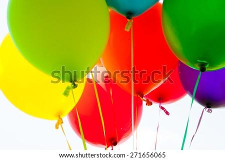 Many colorful balloons - stock photo
