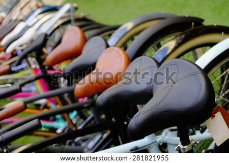 Many colorful Bicycles stanging in a row