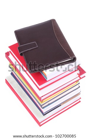 Many Colorful book  over white background. - stock photo