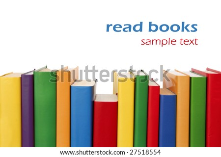 Many colorful books in a row creating a border frame. Isolated on white. - stock photo