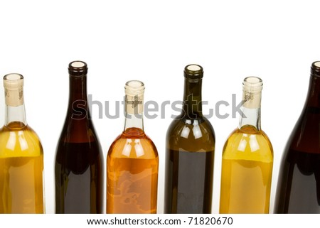 Many Colorful Bottles of Wine on a White Background