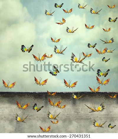 Many colorful butterflies flying into the sky with a peeling wall, illustrative photo and artistic - stock photo