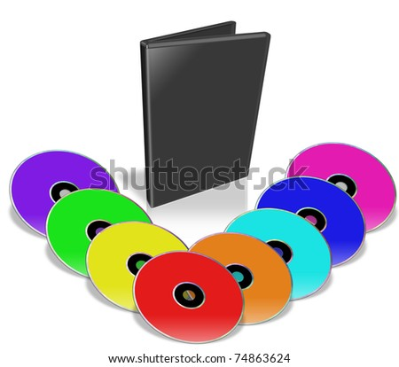 Many Colorful DVD's. Multimedia disks and DVD Case. Isolated on white.