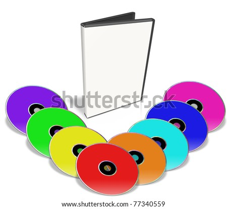 Many Colorful DVD's. Multimedia disks and DVD Case. Isolated on white. - stock photo