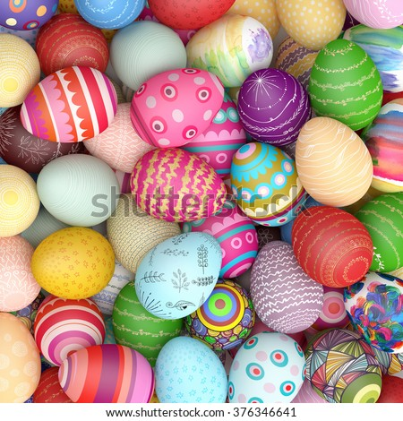 Many colorful easter eggs from above on a heap (3D Rendering) - stock photo