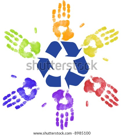 many colorful hands recycling on community or global level - stock photo