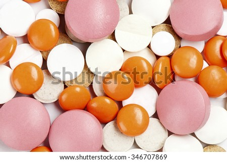 Many colorful medicines. Background or texture