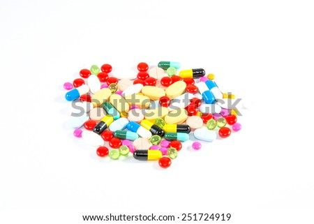 many colorful of medicine tablets