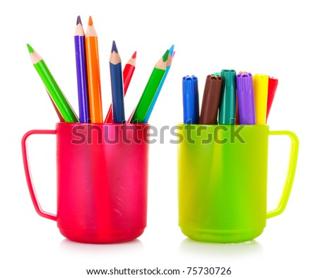 Many colorful pencils in the cup  on the white background - stock photo