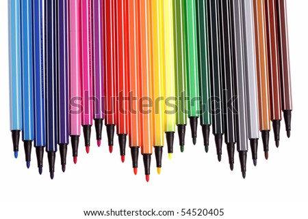 many colorful pens,background,closeup