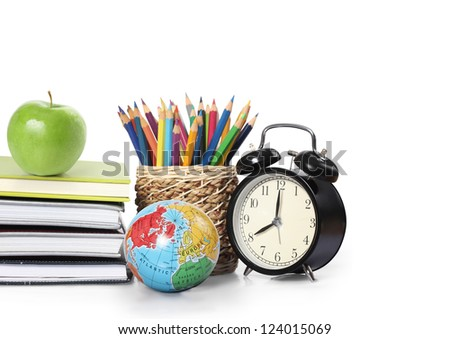 Many Colorful stationery of assortment on table - stock photo