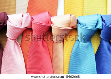 Many Colourful Ties In A Row, Clothing Accessory - stock photo