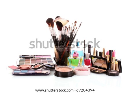 Many colourful woman cosmetics with flower on white white background - stock photo