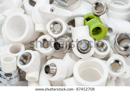 many combined fittings for metal and PVC pipes, unions, tee pipes and valves