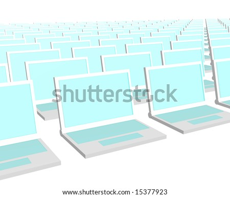 Many Computer Notebooks On a White Background