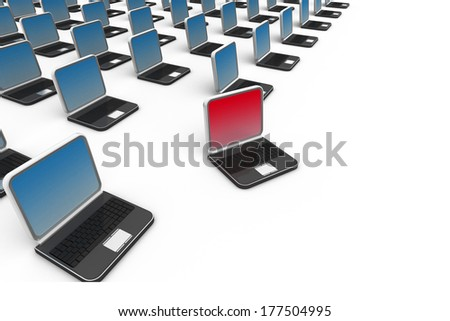 many computer over white background