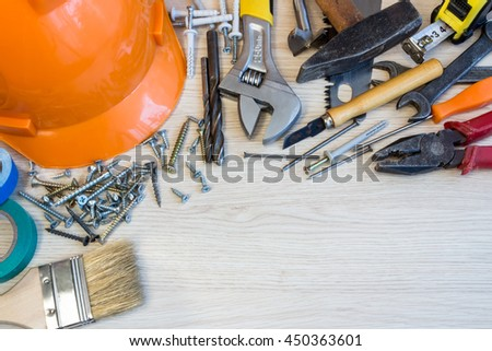 Many construction tools, construction composition tool suitcase, work plan, power tools, building.