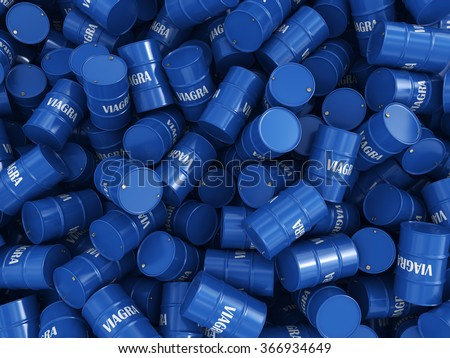 Many containers Viagra in a pile - stock photo