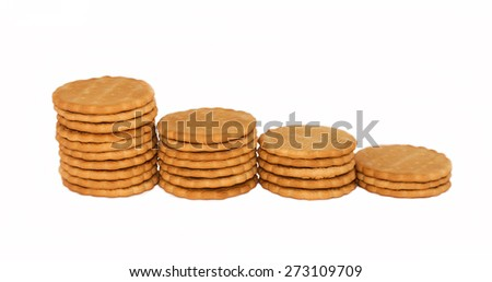 Many cookies on a white background isolated