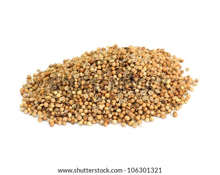 many coriander seeds isolated on white background