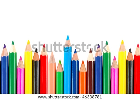 many crayons on a white background