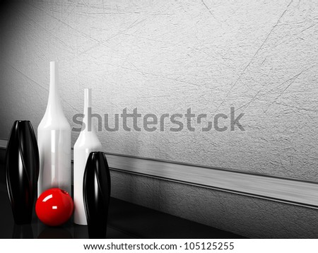 many creative vases on the floor - stock photo