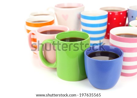 Many cups of coffee isolated on white - stock photo
