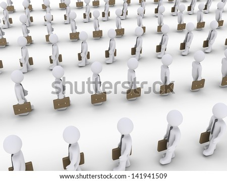 Many 3d businessmen are walking in lines to different directions - stock photo