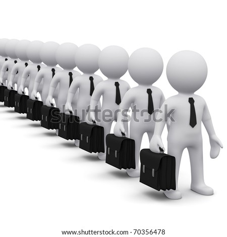 many 3D men with suitcase standing in line - stock photo