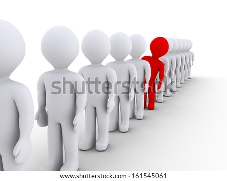 Many 3d people in a row but one stands out - stock photo
