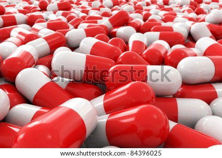 many 3d pills - stock photo