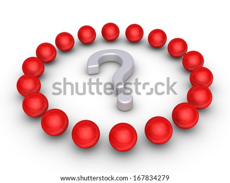 Many 3d spheres around a question mark symbol - stock photo