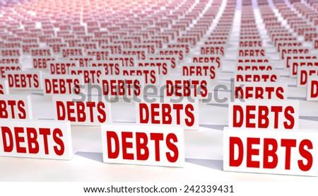 Many debts - stock photo