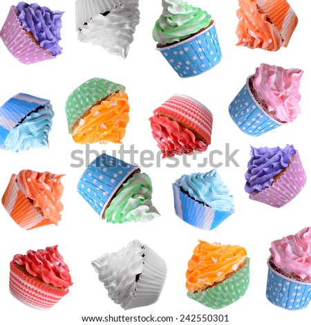 Many delicious cupcakes as background - stock photo