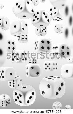 Many dice flying through the perspectives - stock photo